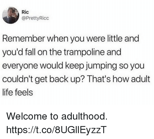 Fall, Funny, and Life: Ric  @PrettyRicc  Remember when you were little and  you'd fall on the trampoline and  everyone would keep jumping so you  couldn't get back up? That's how adult  life feels Welcome to adulthood. https://t.co/8UGllEyzzT