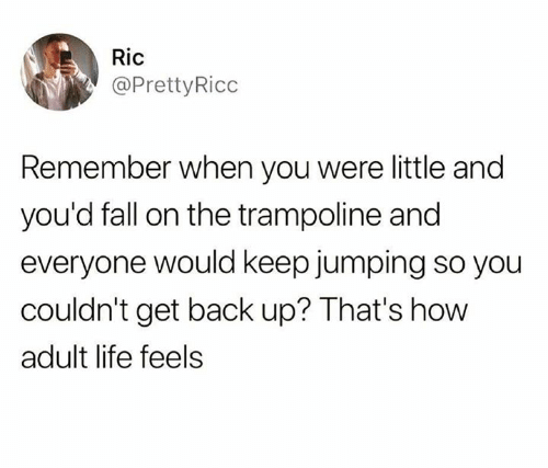 Dank, Fall, and Life: Ric  @PrettyRicc  Remember when you were little and  you'd fall on the trampoline and  everyone would keep jumping so you  couldn't get back up? That's how  adult life feels