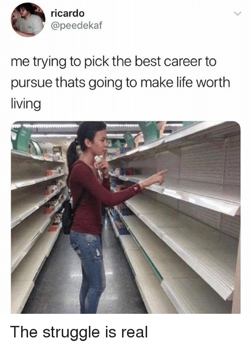 Life, Memes, and Struggle: ricardo  @peedekaf  me trying to pick the best career to  pursue thats going to make life worth  living The struggle is real