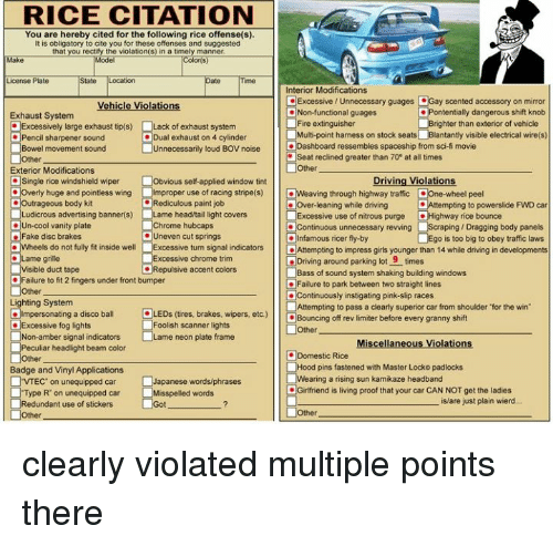 RICE CITATION You Are Hereby Cited for the Following Rice