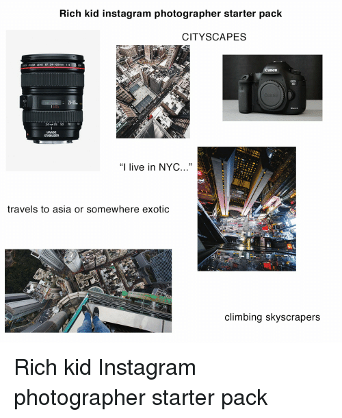 Rich Kid Instagram Photographer Starter Pack CITYSCAPES CANON ZOOM