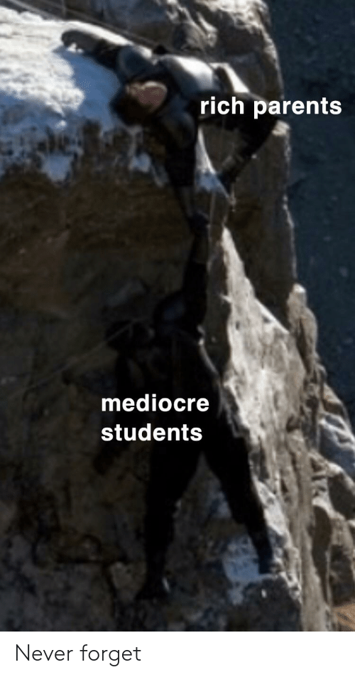 Rich Parents Mediocre Students Never Forget | Mediocre Meme on ME ME