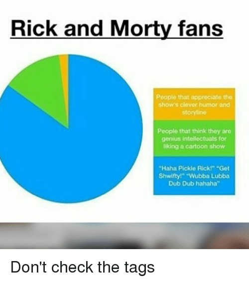 "Memes, Rick and Morty, and Appreciate: Rick and Morty fans  People that appreciate the  show's clever humor and  storyline  People that think they are  genius intellectuals for  liking a cartoon show  ""Haha Pickle Rick!"" Get  Shwifty!"" ""Wubba Lubba  Dub Dub hahaha"" Don't check the tags"