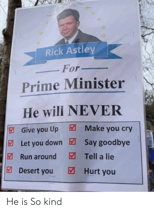 Reddit, Run, and Never: Rick Astley  For_  Prime Minister  He will NEVER  Give you Up Make you cry  Let you down Say goodbye  Run aroundTell a lie  Desert you Hurt you He is So kind