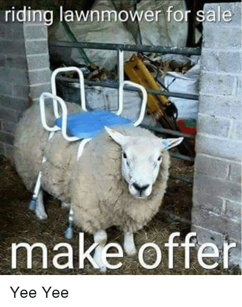 riding lawnmower for sale make offer yee yee 9837377 ✅ 25 best memes about mow lawn mow lawn memes,Lawn Memes