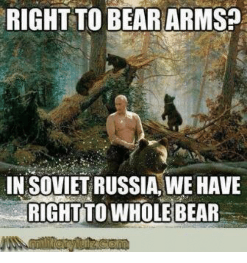 Bear, Bears, and Russia: RIGHT TO BEAR ARMS?  IN SOVIET RUSSIA, WE HAVE  RICHTTO WHOLE BEAR
