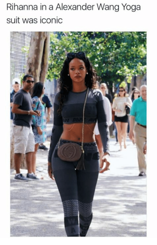 98a338b80b2649 Rihanna in a Alexander Wang Yoga Suit Was Iconic