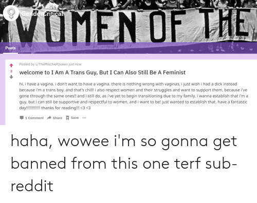 Chill, Family, and Reddit: ritica  Posts  Posted by u/TheMischiefQueen just now  welcome to I Am A Trans Guy, But I Can Also Still Be A Feminist  2  hi. i have a vagina. i don't want to have a vagina. there is nothing wrong with vaginas, i just wish i had a dick instead  because i'm a trans boy. and that's chill! i also respect women and their struggles and want to support them, because i've  gone through the same ones!! and i still do, as i've yet to begin transitioning due to my family. i wanna establish that i'm a  guy, but i can still be supportive and respectful to women, and i want to be! just wanted to establish that. have a fantastic  day!! thanks for reading!!! 3 <3  Џ1Comment Share A Save haha, wowee i'm so gonna get banned from this one terf sub-reddit