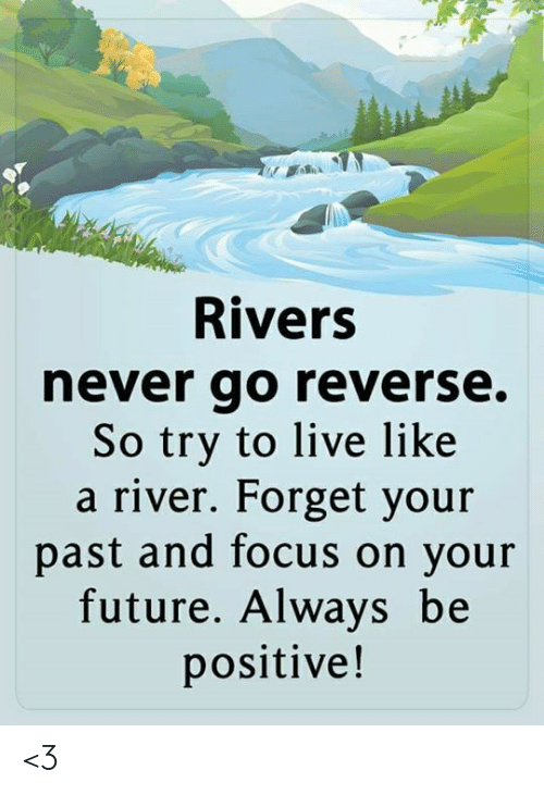 Future, Memes, and Focus: Rivers  never go reverse.  So try to live like  a river. Forget your  past and focus on your  future. Always be  positive! <3