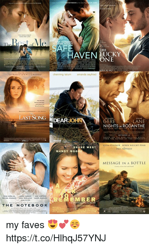 Memes, Newman, and Best: RJONN  THE  560  DUHAMEL  NE HOUGH  FRON  FE  HE  HAVENCKY  ONE  PRIL 20 20  channing tatum  amanda seyfried  LAST SONG DEARJO  RICHARD  DIANE  LANE  NIGHTS IN RODANTHE  GERE  ITS NEVER TOO TATE FOR A SECOND CHANCE  ASED ON THE BEST-SELLING NOVEL  FROM THE AUTHOR OF THE NOTEROOK  KEVIN COSTNER ROBIN WRIGHT PENN  PAUL NEWMAN  SHANE WEST  MANDY MOO  MESSAGE IN A BOTTLE  AMES GARNER  AM SHEPA  EMBER  THENOTEBOO K my faves 😍💕☺️ https://t.co/HlhqJ57YNJ