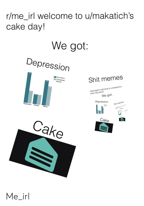 Memes, Shit, and Anxiety: rlme irl welcome to u/makatich's  cake day!  We got  Depression  Shit memes  Your Score  Considered  Normal  18  14  r/teenagers welcome to u/makatich's  We got:  Depression  Shit memes  Depression Anxiety  Stress  Cake  Cake Me_irl