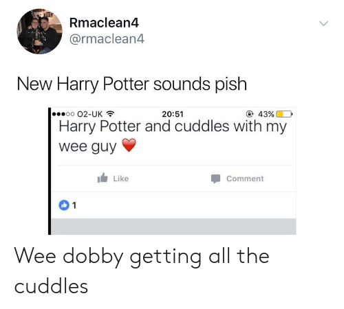 Harry Potter, Wee, and All The: Rmaclean4  @rmaclean4  New Harry Potter sounds pish  oo 02-UK  @ 43%  20:51  Harry Potter and cuddles with my  wee guy  Like  Comment  1 Wee dobby getting all the cuddles
