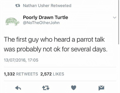 Usher, Turtle, and Who: RNathan Usher Retweeted  Poorly Drawn Turtle  @NoTheOtherJohrn  The first guy who heard a parrot talk  was probably not ok for several days.  13/07/2016, 17:05  1,332 RETWEETS 2,572 LIKES