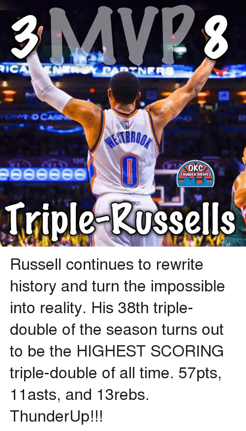 Memes, History, and Okc Thunder: RNERS  FDCASNE  OKC  THUNDER MEMES  Triple Russells Russell continues to rewrite history and turn the impossible into reality.   His 38th triple-double of the season turns out to be the HIGHEST SCORING triple-double of all time.   57pts, 11asts, and 13rebs.  ThunderUp!!!