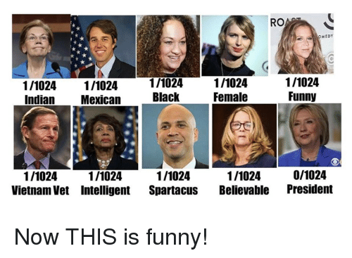 Funny, Memes, and Black: RO  MEDY  1/1024 1/1024  Indian Mexican  1/1024  Black  1/1024  Female  1/1024  Funny  1/1024  Vietnam Vet Intelligent Spartacus Believable President  1/1024  1/1024  1/1024  0/1024 Now THIS is funny!