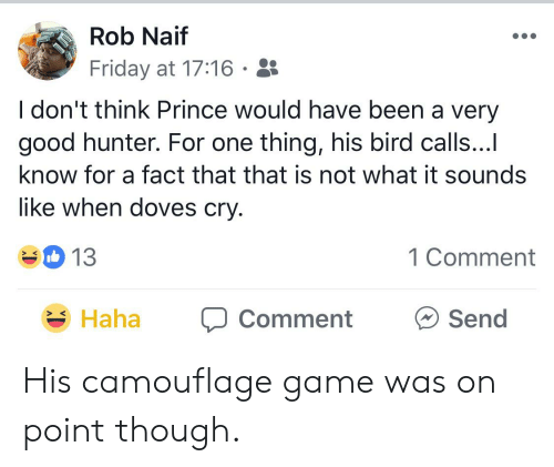 Friday, Prince, and Game: Rob Naif  Friday at 17:16  I don't think Prince would have been a very  good hunter. For one thing, his bird calls...  know for a fact that that is not what it sounds  like when doves cry.  13  1 Comment  Haha  Send  Comment His camouflage game was on point though.