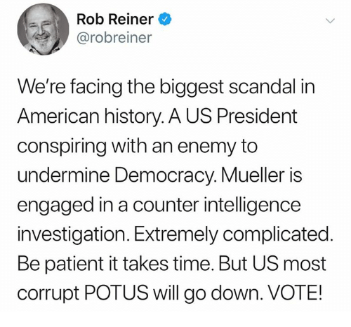 American, History, and Patient: Rob Reiner  @robreiner  We're facing the biggest scandal in  American history. A US President  conspiring with an enemy to  undermine Democracy. Mueller is  engaged in a counter intelligence  investigation. Extremely complicated.  Be patient it takes time. But US most  corrupt POTUS will go down. VOTE!