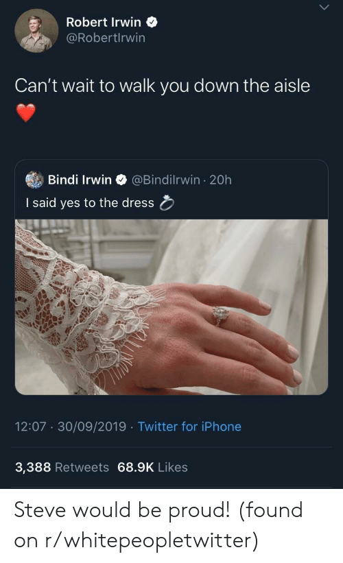 Iphone, The Dress, and Twitter: Robert Irwin  @RobertIrwin  Can't wait to walk you down the aisle  Bindi Irwin  @Bindilrwin 20h  I said yes to the dress  12:07 30/09/2019 Twitter for iPhone  3,388 Retweets 68.9K Likes Steve would be proud! (found on r/whitepeopletwitter)