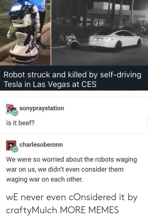 Beef, Dank, and Driving: Robot struck and killed by self-driving  Tesla in Las Vegas at CES  sonypraystation  is it beef?  charlesoberonn  We were so worried about the robots waging  war on us, we didn't even consider them  waging war on each other. wE never even cOnsidered it by craftyMulch MORE MEMES