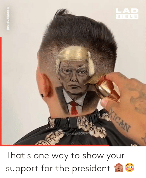 Dank, 🤖, and One: [robtheoriginal] That's one way to show your support for the president 🙈😳