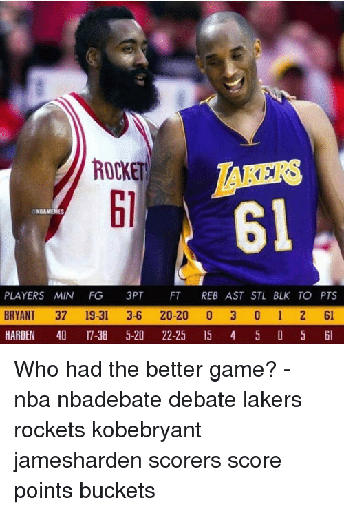 Los Angeles Lakers, Memes, and Nba: ROCKET  RS  61  61  NBAMENES  PLAYERS MIN FG 3PT FT REB AST STL BLK TO PTS  BRYANT 37 19-31 3-6 20-20 0 3 0 1 2 61  HARDEN 4 17-38 5-20 22-25 5 4 5 D 5 l Who had the better game? - nba nbadebate debate lakers rockets kobebryant jamesharden scorers score points buckets