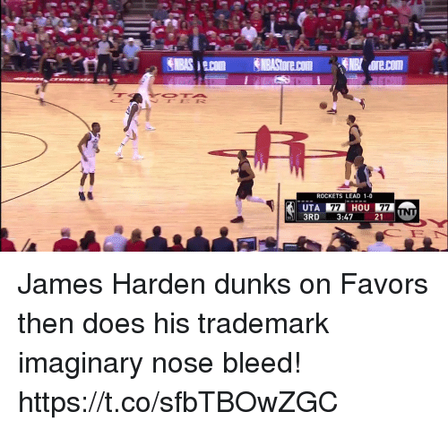 Sizzle: ROCKETS LEAD 1-0  HOU  UTA  3RD 3:47 21 James Harden dunks on Favors then does his trademark imaginary nose bleed!  https://t.co/sfbTBOwZGC