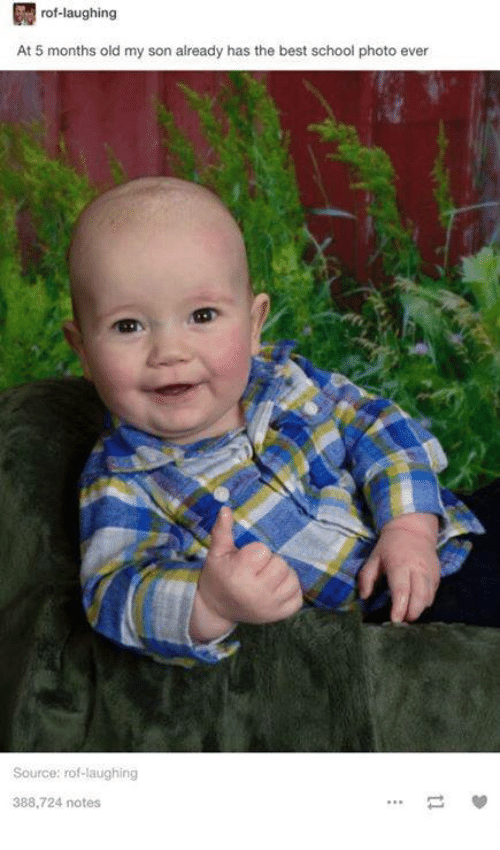 Dank, 🤖, and Photos: rof-laughing  At 5 months old my son already has the best school photo ever  Source: rof laughing  388,724 notes