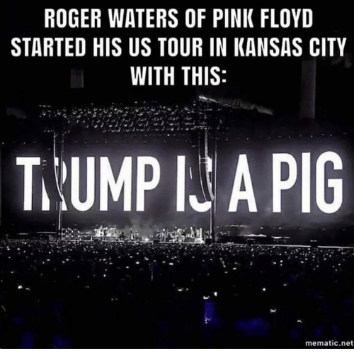 Pink Floyd, Roger, and Pink: ROGER WATERS OF PINK FLOYD  STARTED HIS US TOUR IN KANSAS CITY  WITH THIS  T.UMP IU A PIG  mematic.net