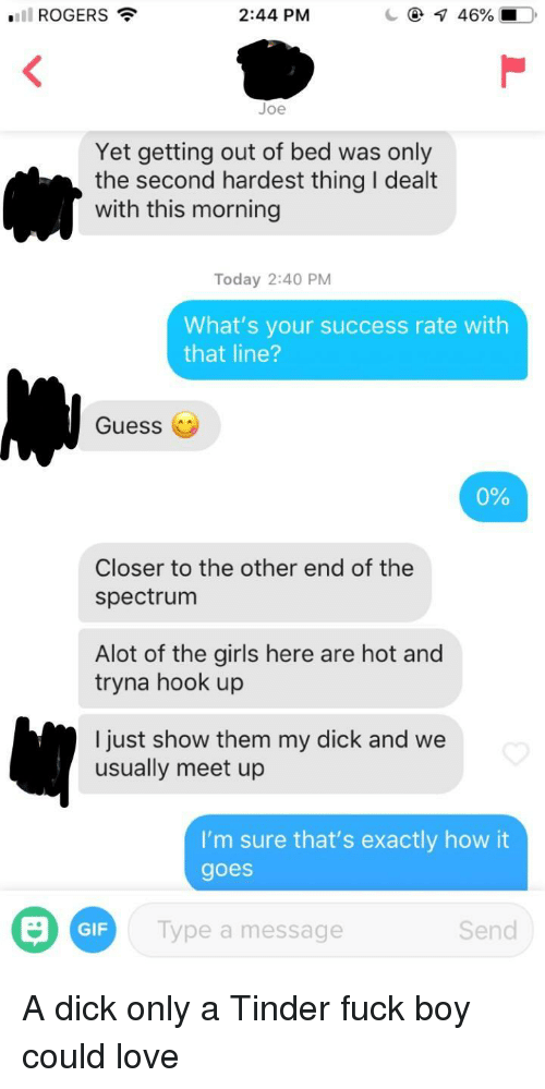 Gif, Girls, and Love: ROGERS  2:44 PM  Joe  Yet getting out of bed was only  the second hardest thing I dealt  with this morning  Today 2:40 PM  What's your success rate with  that line?  Guess (  0%  Closer to the other end of the  spectrum  Alot of the girls here are hot and  tryna hook up  l just show them my dick and we  usually meet up  I'm sure that's exactly how it  goes  GIF  Type a message  Send A dick only a Tinder fuck boy could love