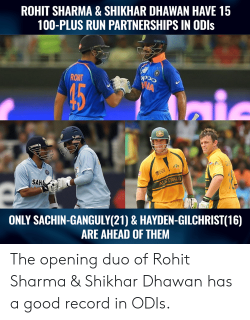 Anaconda, Memes, and Run: ROHIT SHARMA & SHIKHAR DHAWAN HAVE 15  100-PLUS RUN PARTNERSHIPS IN ODls  ROHT  9:  SAHA  TRALI  ONLY SACHIN-GANGULY(21) & HAYDEN-GILCHRIST(16)  ARE AHEAD OF THEM The opening duo of Rohit Sharma & Shikhar Dhawan has a good record in ODIs.