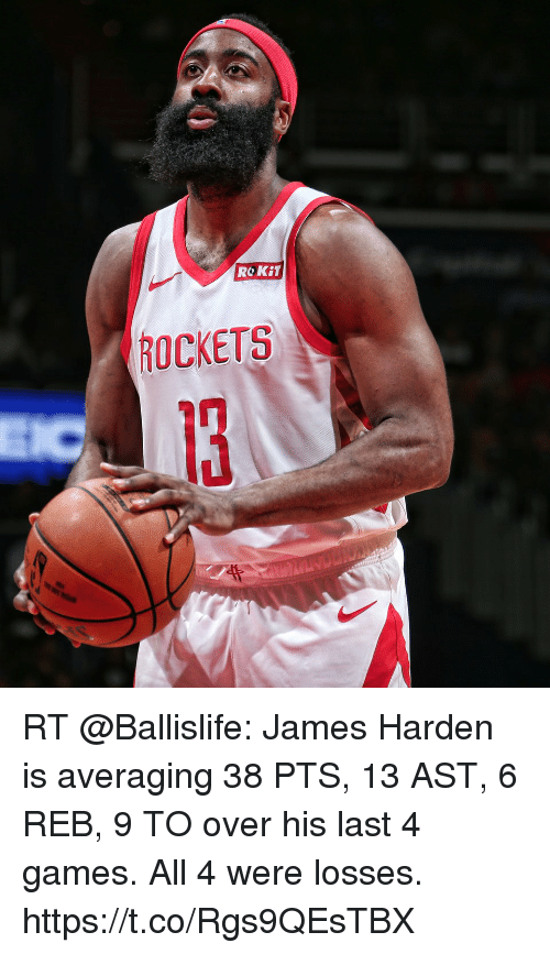 James Harden, Memes, and Games: ROKiT  ROCKETS RT @Ballislife: James Harden is averaging 38 PTS, 13 AST, 6 REB, 9 TO over his last 4 games.  All 4 were losses. https://t.co/Rgs9QEsTBX