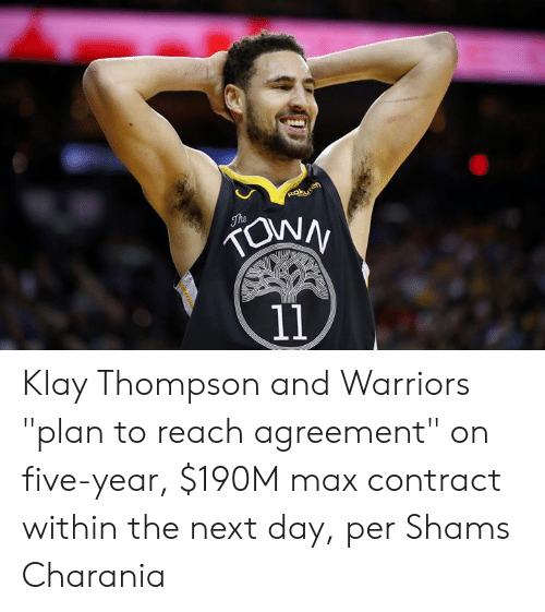 "Klay Thompson, Warriors, and Next: ROkuten  The  11 Klay Thompson and Warriors ""plan to reach agreement"" on five-year, $190M max contract within the next day, per Shams Charania"