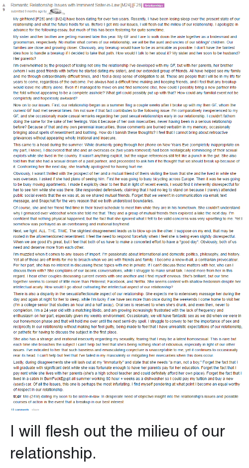 Romantic Relationship Lssues With Lmminent Sister-In-Law M24 F28 Ubmitted 9 Months Ago By My -9014