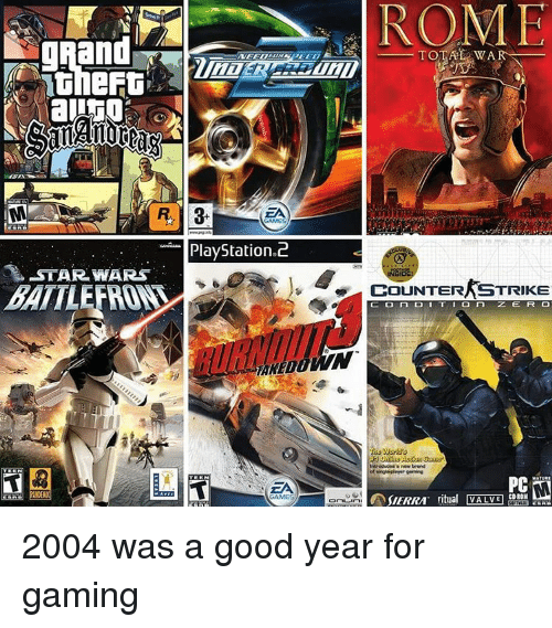 Counter Strike, Memes, and A Good Year: ROME  PlayStation 2  -STAR WARS  RE  TOTAL WAR  COUNTER STRIKE  ZE FR CO  CD-ROH  ritual VALME  SIERRA 2004 was a good year for gaming