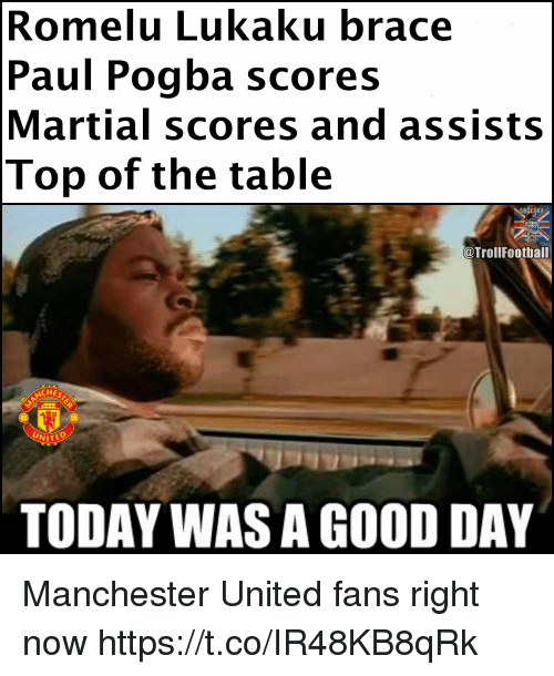 Memes, Manchester United, and Good: Romelu Lukaku brace  Paul Pogba scores  Martial scores and assists  Top of the table  @TrollFootball  CHE  UNITEO  TODAY WAS A GOOD DAY Manchester United fans right now https://t.co/IR48KB8qRk