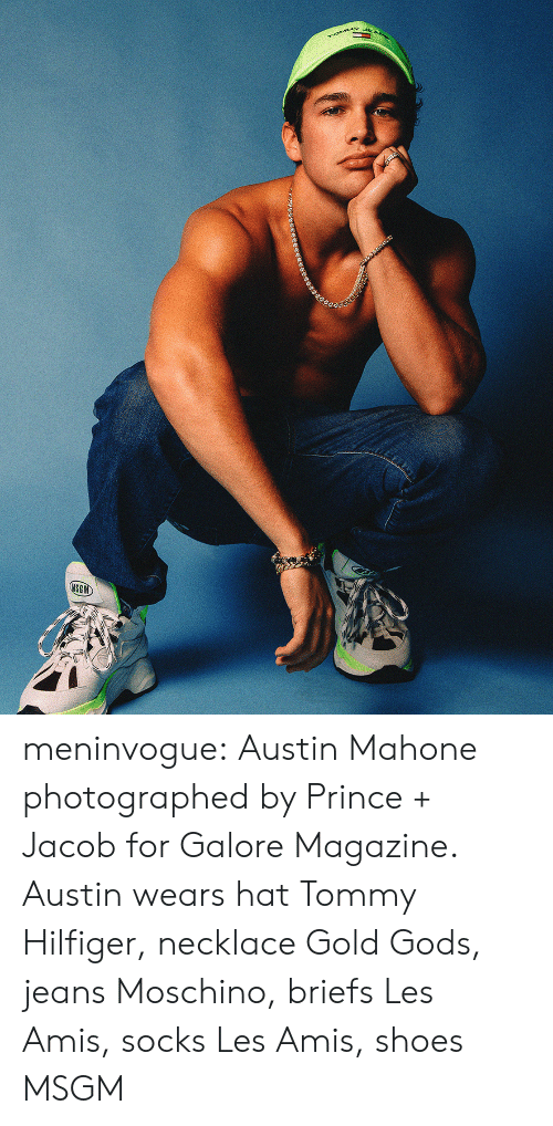 Prince, Shoes, and Target: rOMMY  MSGM meninvogue:  Austin Mahone photographed by Prince + Jacob for Galore Magazine. Austin wears hat Tommy Hilfiger, necklace Gold Gods, jeans Moschino, briefs Les Amis, socks Les Amis, shoes MSGM