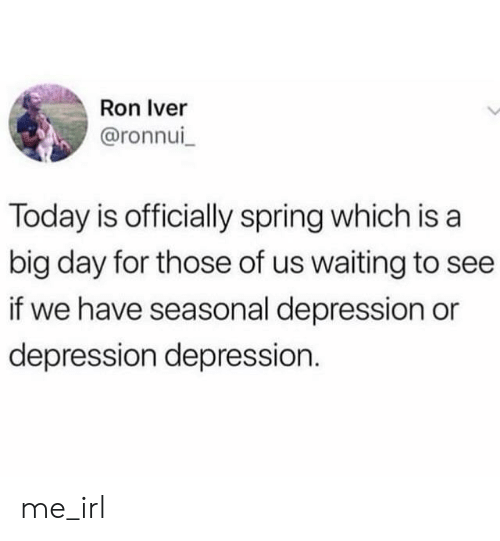 Depression, Spring, and Today: Ron Iver  @ronnui  Today is officially spring which is a  big day for those of us waiting to see  if we have seasonal depression or  depression depression. me_irl