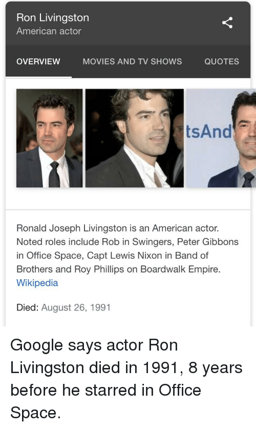 Ron Livingston American Actor OVERVIEW MOVIES AND TV SHOWS QUOTES Interesting Swingers Quotes