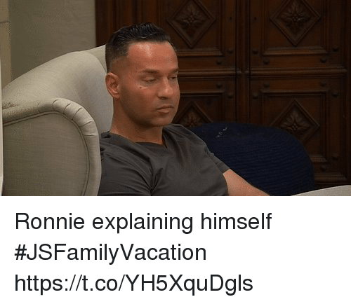 Memes, 🤖, and Ronnie: Ronnie explaining himself #JSFamilyVacation https://t.co/YH5XquDgls