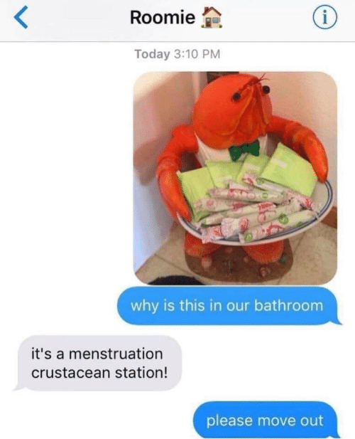Today, Why, and Move: Roomie  Today 3:10 PM  why is this in our bathroom  it's a menstruation  crustacean station!  please move out