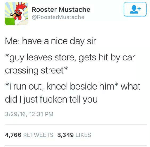 Run, Humans of Tumblr, and Nice: Rooster Mustache  @RoosterMustache  Me: have a nice day sir  *guy leaves store, gets hit by car  crossing street*  *i run out, kneel beside him* what  did I just fucken tell you  3/29/16, 12:31 PM  4,766 RETWEETS 8,349 LIKES