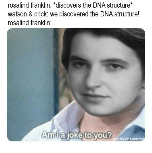 Tumblr, Physics, and Dna: rosalind franklin: *discovers the DNA structure*  watson & crick: we discovered the DNA structure!  rosalind franklin:  Amlajoke to you?  fun-o-physics.tumblr
