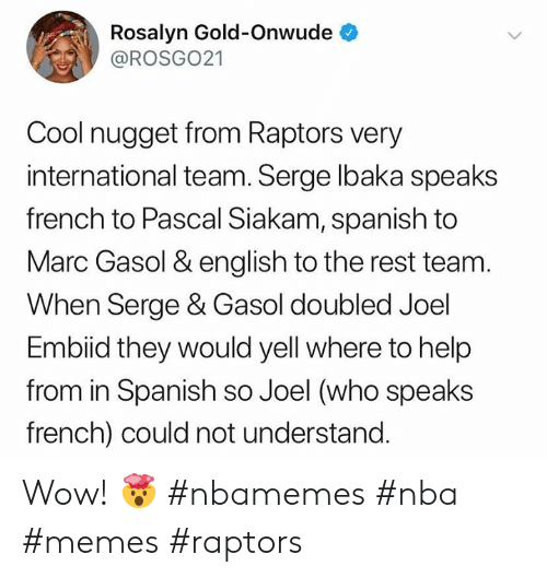 Memes, Nba, and Spanish: Rosalyn Gold-Onwude  @ROSGO21  Cool nugget from Raptors very  international team. Serge lbaka speaks  french to Pascal Siakam, spanish to  Marc Gasol & english to the rest team.  When Serge & Gasol doubled Joel  Embiid they would yell where to help  from in Spanish so Joel (who speaks  french) could not understand. Wow! 🤯 #nbamemes #nba #memes #raptors