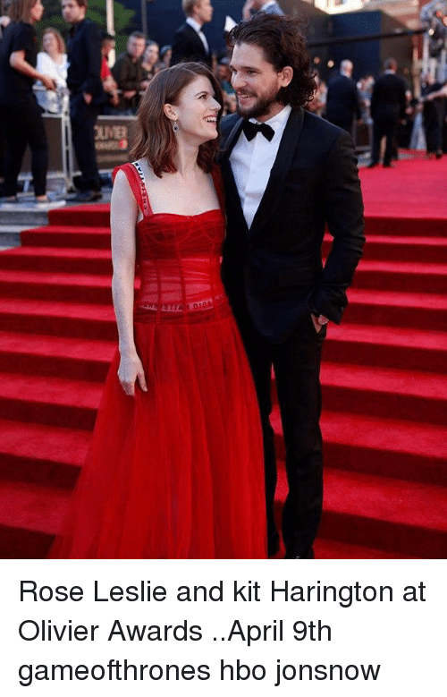 Hbo, Memes, and Kit Harington: Rose Leslie and kit Harington at Olivier Awards ..April 9th gameofthrones hbo jonsnow