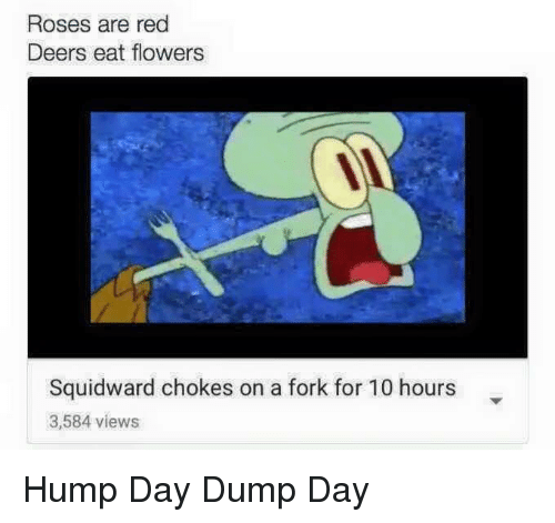 Hump Day, Squidward, and Flowers: Roses are red  Deers eat flowers  Squidward chokes on a fork for 10 hours  3,584 views Hump Day Dump Day