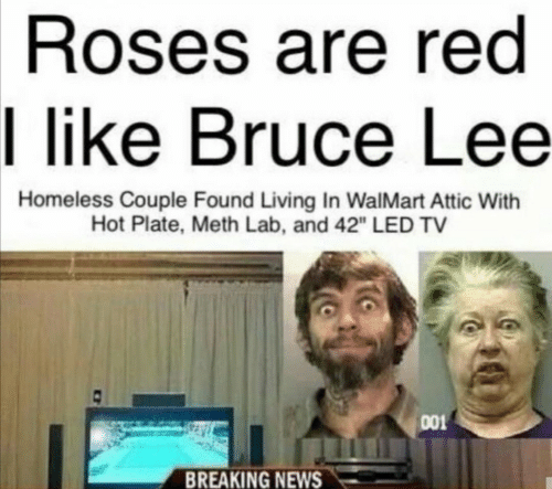 "Homeless, News, and Walmart: Roses are red  I like Bruce Lee  Homeless Couple Found Living In WalMart Attic With  Hot Plate, Meth Lab, and 42"" LED TV  001  BREAKING NEWS"