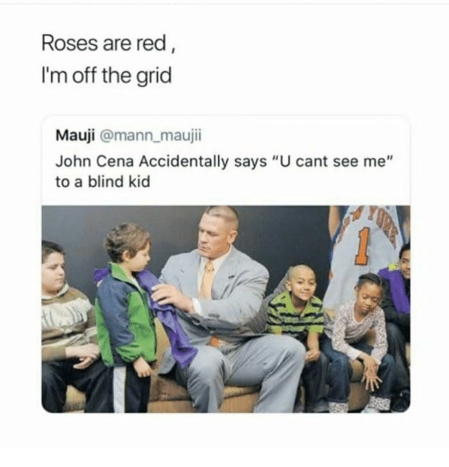 """John Cena, Red, and Roses: Roses are red  I'm off the grid  Mauji @mann maujii  John Cena Accidentally says """"U cant see me""""  to a blind kid"""