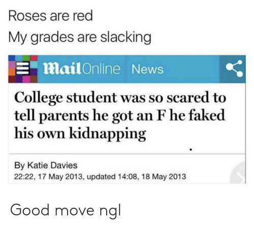 College, News, and Parents: Roses are red  My grades are slacking  Mail Online News  College student was so scared to  tell parents he got an F he faked  his own kidnapping  By Katie Davies  22:22, 17 May 2013, updated 14:08, 18 May 2013 Good move ngl
