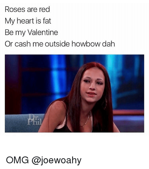 Girl, Valentine, and Valentines: Roses are red  My heart is fat  Be my Valentine  Or cash me outside howbow dah OMG @joewoahy