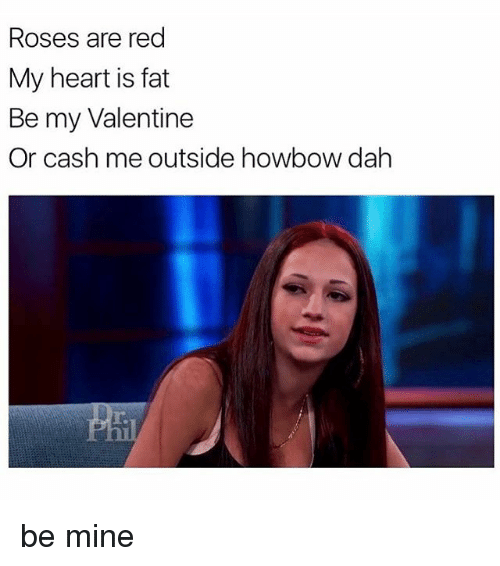 Girl, Roses Are Red, and Be My Valentine: Roses are red  My heart is fat  Be my Valentine  Or cash me outside howbow dah be mine
